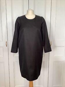 COS DRESS COTTON/SILK UK12 EU40 SHIFT BLACK SIDE POCKETS EXPOSED BACK ZIP