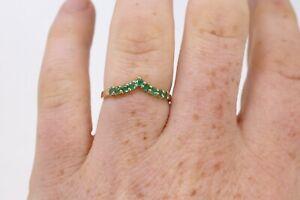 Amazing Vintage 14ct Yellow Gold 585 Natural Emerald Gemstone Wishbone Ring #056