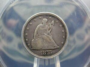 "1875 ""CC"" Twenty Cent Silver Piece 20c ANACS F12  #051 Obsolete  ECC&C, Inc."