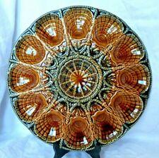 Grand plat à huîtres coquillages en barbotine faïence Sarreguemines