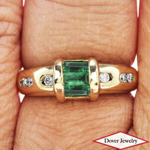 Estate Diamond Emerald 18K Gold Lovely Ring NR