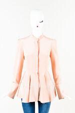 Alexander McQueen NWT $2645 Light Pink Silk Pleated Peplum LS Blouse Shirt SZ 40