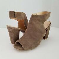 "Franco Sarto 10 Sandals Taupe Leather Suede Peep Toe 4"" Block Heel"