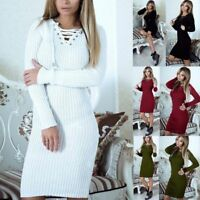 Women's Knitted Jumper Long Sleeve Dress Bodycon Winter Lace Up V Neck Sweater