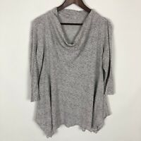 Cut Loose Gray Knit Floral Cowl Neck 3/4 Sleeve Flowy Top Women's Size Large
