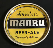 New listing Vintage Schreiber's Manru Beer-Ale Metal Tray, Yellow, 1930s-1940s, Buffalo Ny