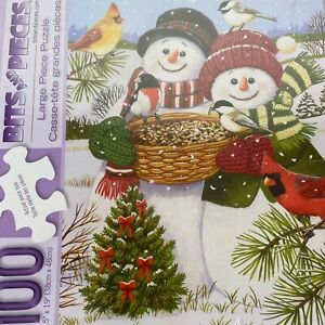 Bits And Pieces Snow Couple Feeding Birds Large Format 100 Pc Puzzle Complete