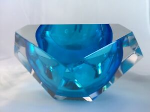Murano Sommerso Faceted Block Bowl in Shades of Blue with Patterned Base