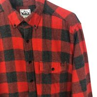 Woolrich Vintage Buffalo Plaid Flannel Shirt Mens Large 100% Cotton Red Gray VTG