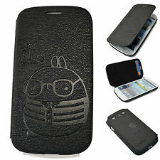 SAMSUNG Galaxy S3 III Cute Rabbit Leather Case Flip Cover Skin Wallet for BLACK