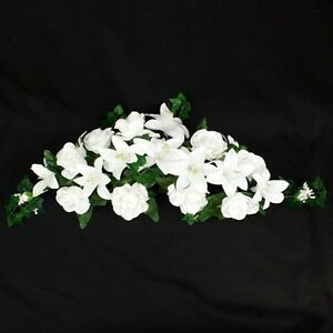 """WHITE SILK ROSE AND LILY 28"""" SWAG TABLE DECORATION IDEAL WEDDINGS / CELEBATIONS"""