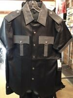 NWT Leather Uniform Snap Front Shirt Medium Black Body Grey Accents
