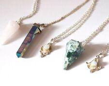 Sterling Silver Gemstone Moonstone Crystal Silver Necklace. Boho Jewellery