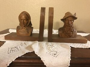 "VINTAGE PAIR HAND CARVED WOOD BOOKENDS, 6 1/2""x7"" W/ ""mamma"" & "" Papa"" FIGURINES"
