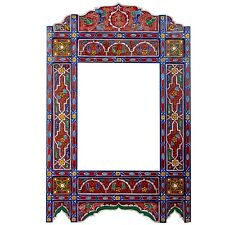 Moroccan farmhouse Red&Blue hanging mirror frame, decor of wood, hand-painted