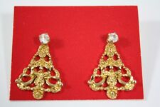 Avon 1990 Convertible Christmas Tree Pierced Earrings Goldtone Rhinestone