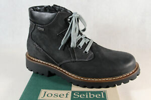 Seibel Men's Boots Boat Lace Up Black Real Leather Top Dry Tex 21958 New