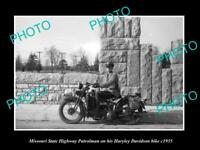 8x6 HISTORIC PHOTO OF MISSOURI STATE POLICE HARLEY DAVIDSON MOTORCYCLE c1935