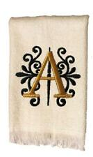 New White Monogrammed Hand Towel with Black and Gold Embroidery Design