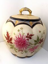 PRETTY VICTORIAN CRACKER JAR ATTRIBUTED TO ROYAL WORCESTER ~CARNATION PATTERN~