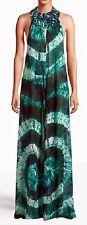 BNWT Beyonce H&M Green Tie-Dye Batik Print Maxi Beach Dress Cover-Up XS/S abito