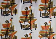 vintage 1950s abstract art print cotton barkcloth fabric
