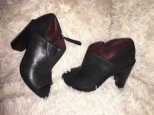 "Rag & Bone ""Mabel"" Black Leather Suede Peep Toe Bootie SZ 36.5 NEW $495"