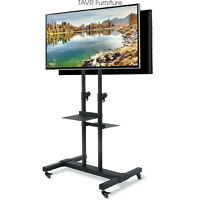 Dual Mobile TV Stand with Mount on Lockable Caster Wheels for 32-70 inch TV