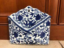 Envelope Shaped Ceramic Wall Mount Pocket Letter/Mail Holder Blue & White