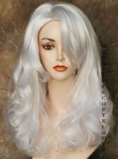 WHITE Full LONG WAVY SKIN TOP WIG Theather Cosplay clubing Hair Piece TRNC