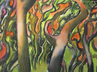 Gouache Andre Delfau Modernist MidCentury Modern Abstract Surreal Forest Signed!