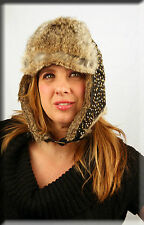New Beaded Black Leather Trapper Aviator Hat Grey Rabbit Fur Trim
