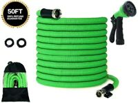 Double latex 50FT Nickel Brass Lightweight Expanding Flexible Garden Water hose