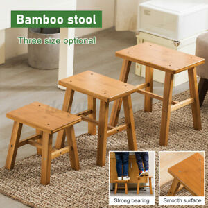 S/M/L Bamboo  Wooden  Chair Round Footstool Mordern Breakfast   A C
