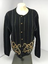 Vtg Black/Gold/Silver Metallic Cardigan Sweater Button Medium SO CUTE!