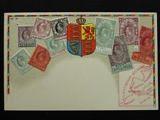 More details for gibraltar philately stamps, map & heraldic arms c1910 embossed postcard