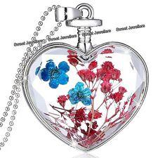Rojo Y Azul Flores Plata Collar Con Corazón - Navidad Para Ella Esposa De Mujer