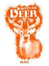 Whitetail Deer Spray Paint Orange Poster - 12x16