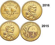 2015 & 2016  P - D Native American Dollar Coin Set  Sacagawea   Uncirculated