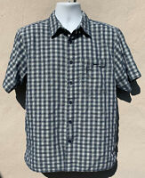 The North Face Mens Short Sleeve Button Front Shirt 2 Chest Pocket Blue Green M