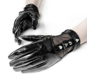 PUNK RAVE Schwarze Damen Gothic Lack Handschuhe mit Stachelnieten Black Gloves