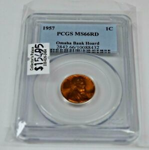 1957-P 1C LINCOLN PENNY PCGS MS66RD BUSINESS STRIKE OMAHA BANK HOARD