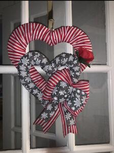 Valentine Wreath Door Decor Wall Decor Door Hanger Red Heart Shaped Wreath