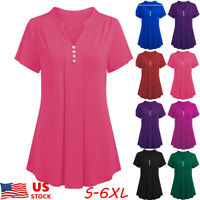 Plus Size S-6XL Women V Neck Tunic Tops Pleated Loose Tunic Tops Shirt Blouse US