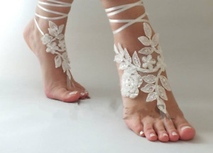 Anklets for Girl Foot Chain Ivory Fabric Lace Appliques Ankle Bracelet Beach
