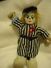 "VINTAGE PORCELAIN FACE CLOWN WEARING BASEBALL UNIFORM...""P"" ON FRONT..9"" TALL"