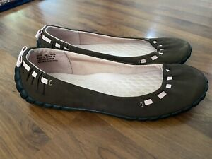 Womems Size 9 Privo By Clarks Brown Leather Ballet Flats Light Pink Detail