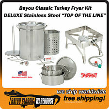 Bayou Classic DELUXE Stainless Steel Turkey Fryer Kit Commercial Grade Quality