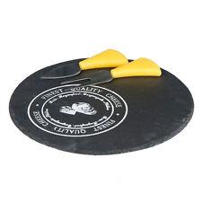 Tagliere Set Coltello Forchetta per Formaggio con Vassoio Tondo Ardesia Alpina