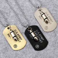 Retro Men Military Army Bullet Dog Tags SINGLE EMBOSSED Chain Pendant Necklace